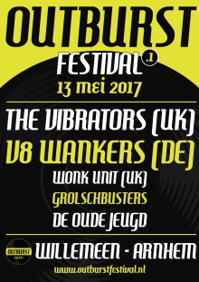 OUTBURST FESTIVAL met: The Vibrators (UK) + V8 Wankers + Grolschbusters + Wonk Unit (UK) + Oude Jeugd