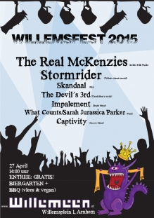 WillemsFest 2015: The Real Mckenzies (CAN) + Stormrider + Skandaal + The Devil's 3rd + Impalement + What Counts/Sarah Jurassica Parker + Captivity