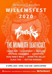 Afgelast: WillemsFest 2020: Thanatos + The Monolith Deathcult + Dead Man's Walk + BasilisK + Slack Tide + Chauffeur + Speciaal Onderwijs + Rotten Remains + Down The Valley + TBA