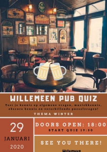 Willemeen Café presenteert Winter Pubquiz